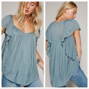 FREE PEOPLE Blue Gray Flutter Sleeve Top